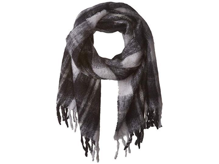 Marc By Marc Jacobs Blanket Plaid Scarf (black Multi) Scarves