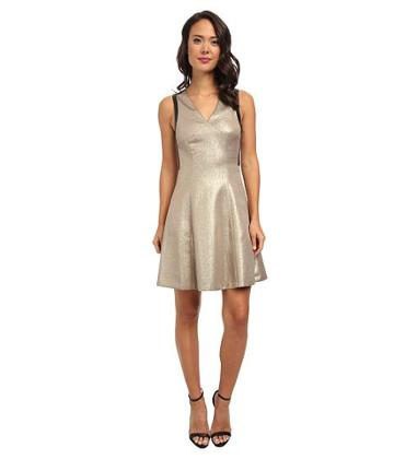 Dknyc Ponte Pieced Flare Dress (mink) Women's Dress