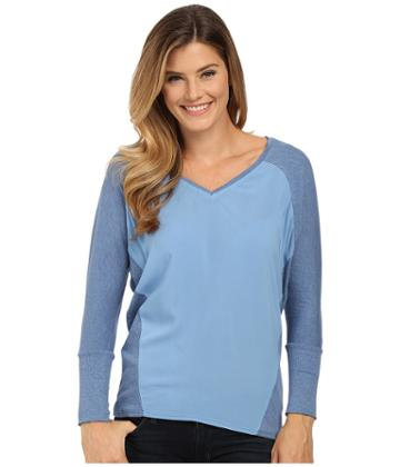 Two By Vince Camuto V-neck Mixed Media Saturday Shirt (chambray Heather) Women's Long Sleeve Pullover