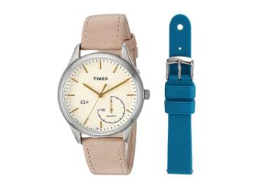 Timex Iq+ Move Leather Strap With Extra Silicone Strap (tan/cream/teal) Watches