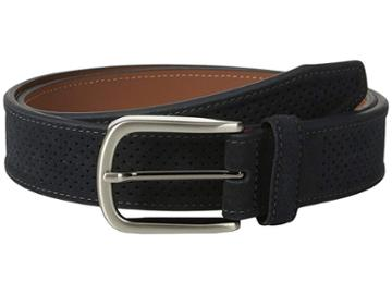 Johnston & Murphy Perforated Suede (navy) Men's Belts