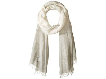 Love Quotes Linen Cotton Variable Stripe (stone/white) Scarves