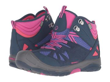 Merrell Kids Capra Mid Waterproof (big Kid) (navy/multi) Girl's Shoes