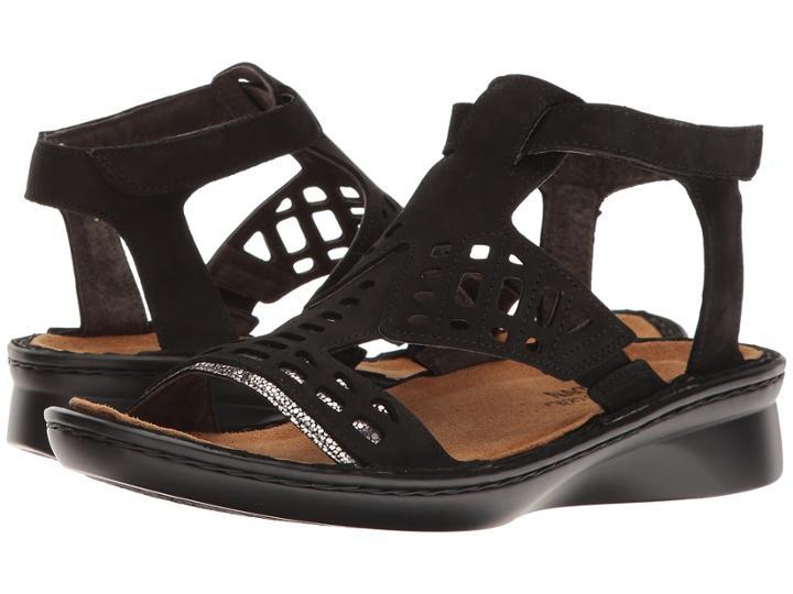 Naot String (black Velvet Nubuck/silver Pebble Leather) Women's Sandals