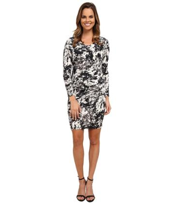 Dknyc Marble Sleek Jersey Ruched Dress (black) Women's Dress
