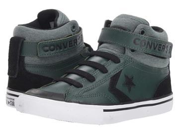 Converse Kids Pro Blaze Strap Hi (little Kid/big Kid) (vintage Green/black/white) Boys Shoes