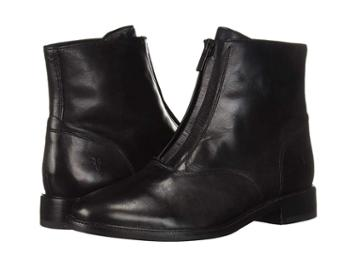 Frye Kelly Front Zip Bootie (black Dip-dyed Leather) Women's Zip Boots