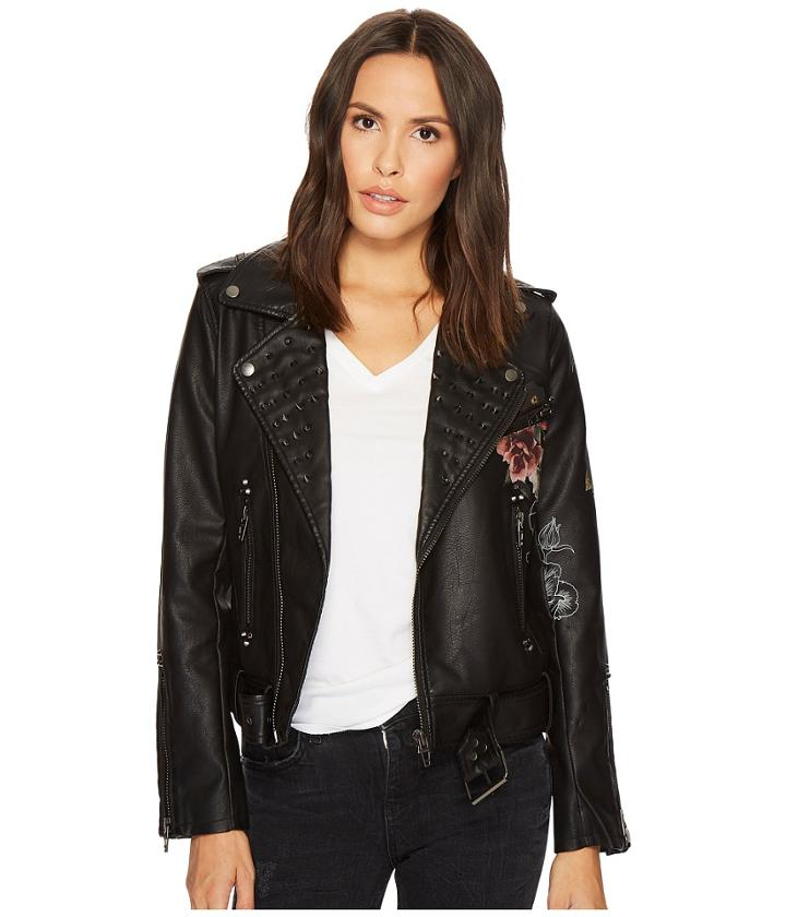 Blank Nyc Floral Vegan Leather Moto Jacket In Love And Leave (love And Leave) Women's Coat