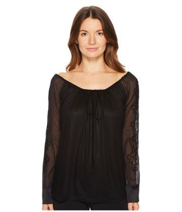 La Perla English Rose In Out Shirt (black) Women's Pajama