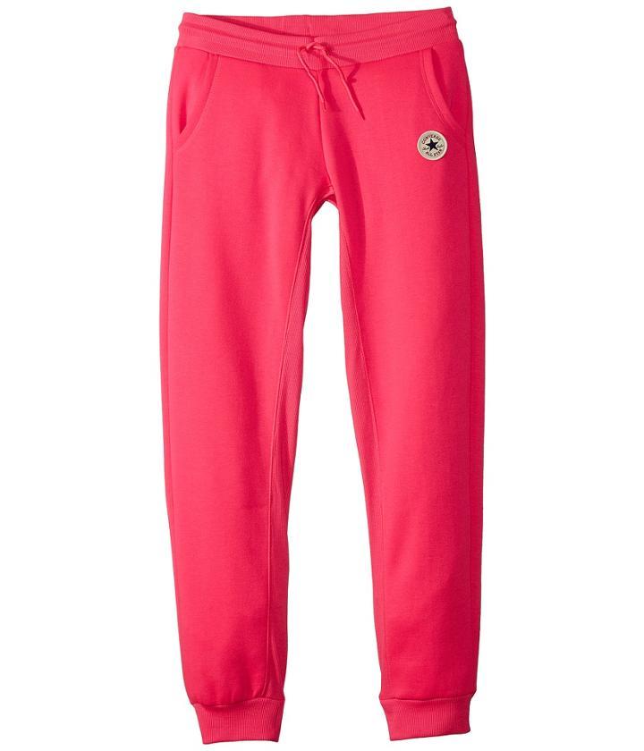 Converse Kids Ctp Rib Paneled Joggers (big Kids) (pink Pow) Girl's Casual Pants
