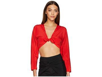 La Perla Ruffled Jade Blouse (poppy Red) Women's Swimwear