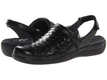 Softwalk Salina Woven (black Burnished Veg Kid Leather) Women's Clog Shoes
