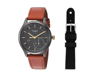 Timex Iq+ Move Leather Strap With Extra Silicone Strap (brown/black) Watches