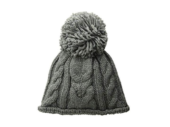 Woolrich Cable Stitch Beanie With Pom (grey) Beanies