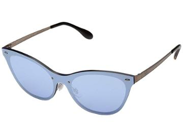 Ray-ban Blaze Cat Eye Rb3580n 43mm (brushed Copper/dark Blue Silver Mirror) Fashion Sunglasses