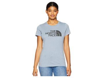 The North Face 1/2 Dome Tri-blend Crew Tee (gulf Blue Heather/asphalt Grey) Women's T Shirt