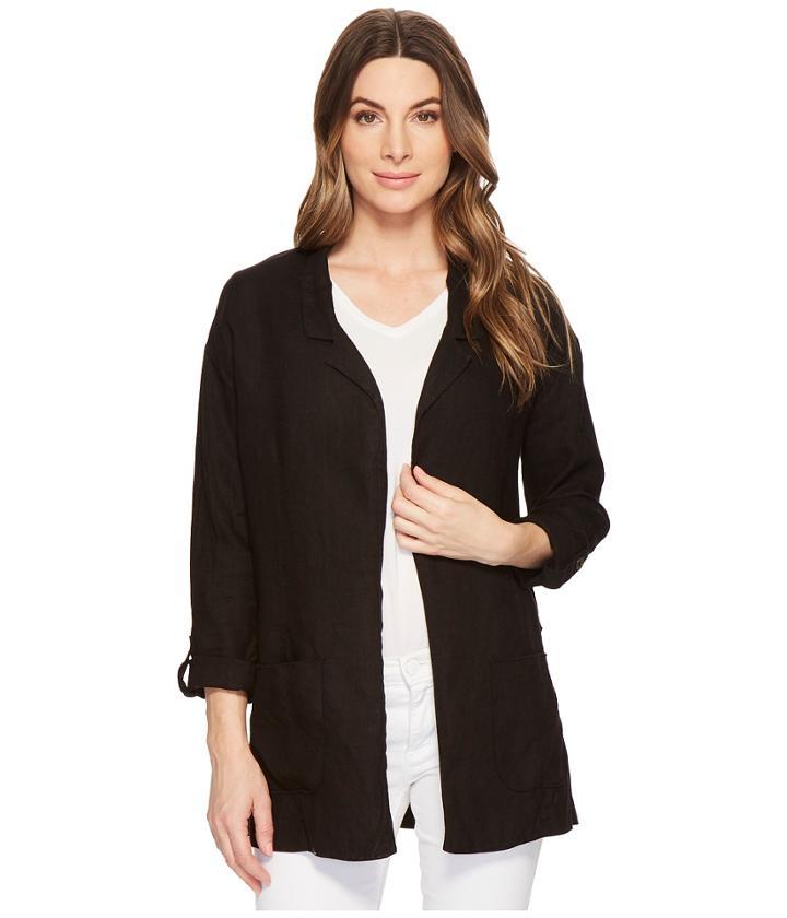 Three Dots Woven Linen Blazer (black) Women's Jacket