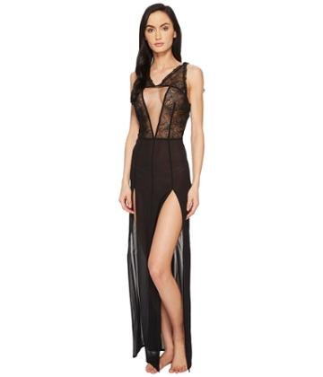 La Perla Elements Night Gown (black/electric Blue) Women's Dress