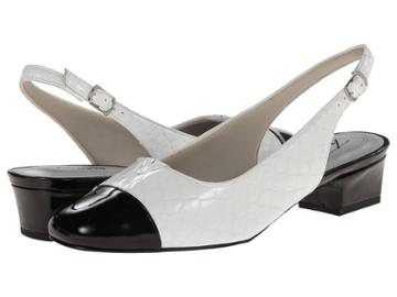 Trotters Dea (white/black Patent Python Leather) Women's 1-2 Inch Heel Shoes