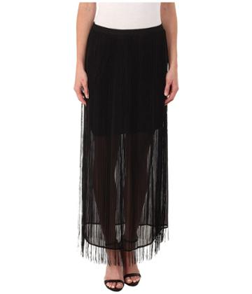 Dknyc Fringed Maxi Skirt (black) Women's Skirt