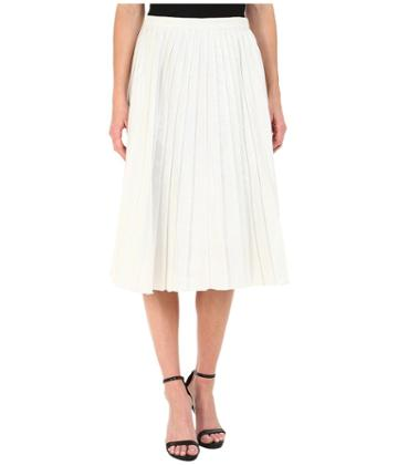 Dknyc Liquid Lame Pleated Skirt (white) Women's Skirt