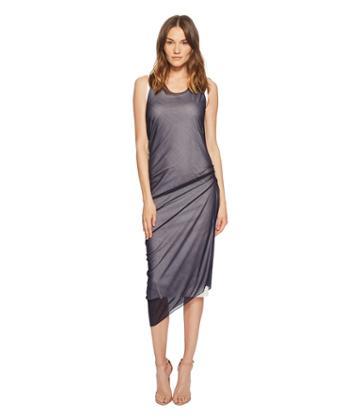 Sportmax Ode Sheer Overlay Sleeveless Dress (white/blue) Women's Dress