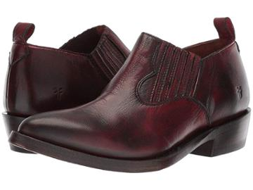 Frye Billy Shootie (burnt Red Polished Soft Full Grain) Women's Slip On  Shoes