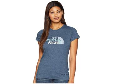 The North Face 1/2 Dome Tri-blend Crew Tee (blue Wing Teal Heather/gulf Blue Multi) Women's T Shirt