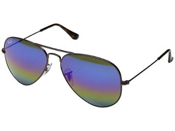 Ray-ban Rb3025 Original Aviator 58mm (dark Bronze/blue-gold-green Rainbow Mirror) Metal Frame Fashion Sunglasses