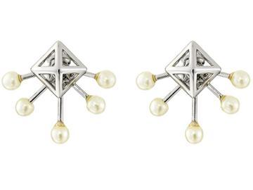 Rebecca Minkoff Pyramid Fan Stud Earrings (imitation Rhodium/pearl) Earring