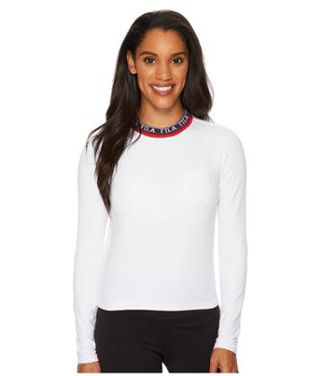 Fila Rebecca Long Sleeve Top (white/navy/red) Women's Clothing