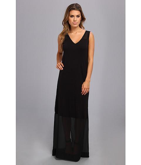 Dknyc Sleeveless V-neck Maxi Dress W/ Chiffon Yoke And Hem (black) Women's Dress