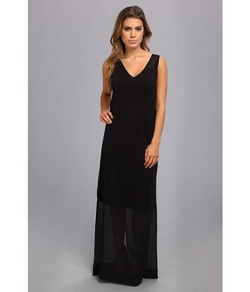 Dknyc Sleeveless V-neck Maxi Dress W/ Chiffon Yoke And Hem (black) Women's Dress