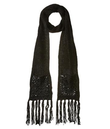 Betsey Johnson Sequins Shine Muffler (black) Scarves
