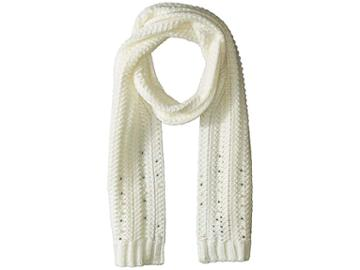 Vince Camuto Chunky Herringbone Stitch Scarf (white) Scarves