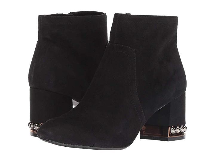 Anne Klein Walena Pearl Studded Bootie (black Suede) Women's Boots