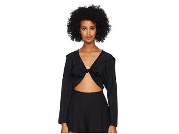 La Perla Ruffled Jade Blouse (black) Women's Swimwear