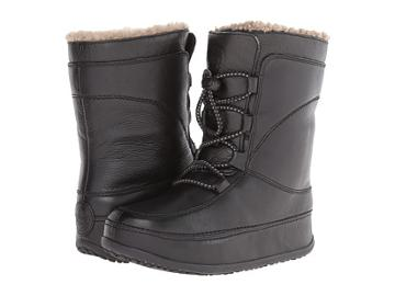 Fitflop Mukluk Moc Lace Up (leather) (all Black) Women's Lace-up Boots