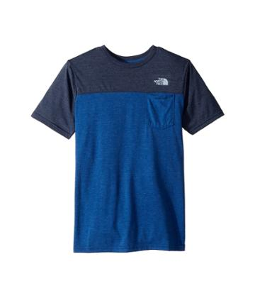 The North Face Kids Tri-blend Pocket Tee (little Kids/big Kids) (turkish Sea Heather/cosmic Blue Heather/pale Blue) Boy's T Shirt