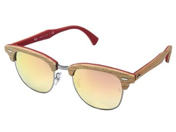 Ray-ban Clubmaster 51mm (cherry Tree Rubber Red/gunmetal/copper Flash Gradient) Fashion Sunglasses