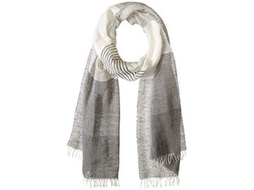 Love Quotes Linen Cotton Variable Stripe (chalkboard/white) Scarves