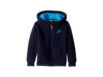 Nike Kids Futura Fleece Sherpa Full Zip (little Kids) (obsidian) Boy's Sweatshirt