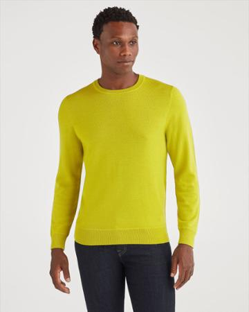 7 For All Mankind Men's Merino Wool Long Sleeve Crewneck In Bitter Absynthe