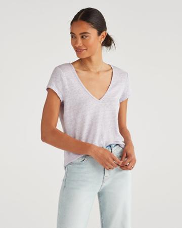 7 For All Mankind Women's V-neck Tee In Lilac Mist