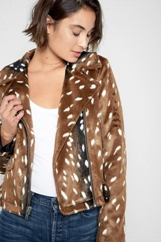 7 For All Mankind Fur Moto Jacket In Fawn