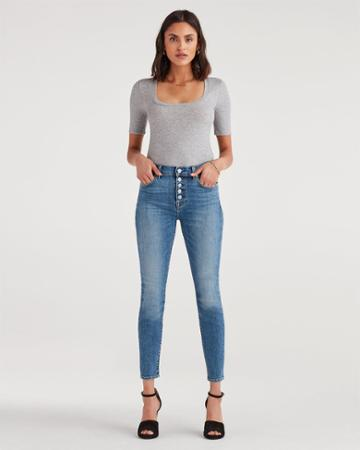 7 For All Mankind Women's High Waist Ankle Skinny With Exposed Button Fly In Sloane Vintage