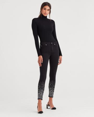 7 For All Mankind B(air) Denim Ankle Skinny In Black With Rhinestones