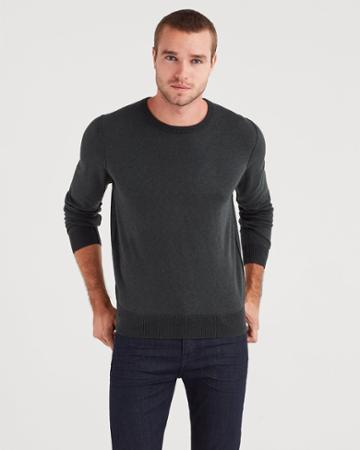 7 For All Mankind Plaited Crewneck Sweater In Dark Pine