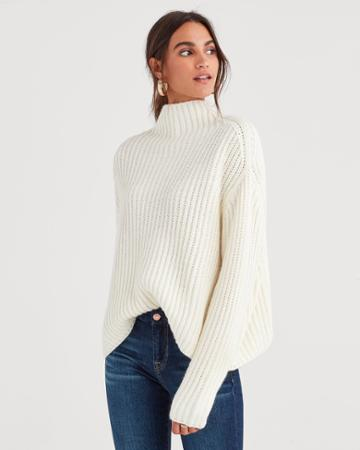 7 For All Mankind Chunky Turtleneck Sweater In Soft White