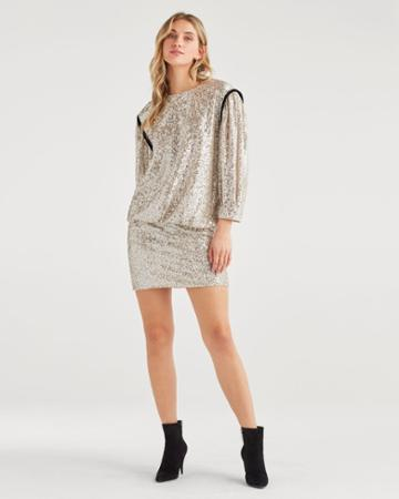7 For All Mankind Women's Long Sleeve Sequin Dress